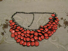 "Dark Grey Tone Metal & Bright Pink Faceted Plastic Bib Necklace - 21-24"" long"