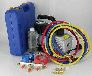 Kit Pompe à vide + manomètre + 3 tuyau R32 R410a R22 R134a manifold frigoriste
