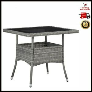 Outdoor Table Grey Poly Rattan Glass Powder-Coated Steel Frame Patio Furniture