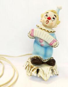 Vtg Aladdin Giftwear Porcelain Clown Figurine Portable Lamp Night Light UL