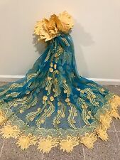 """TURQUOISE GOLD 3D EMBROIDERY RHINESTONE LACE FABRIC 52"""" WIDE 1 YARD"""