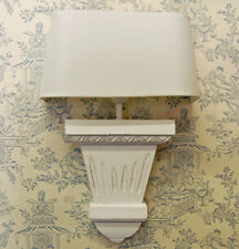 French white slim wooden wall light complete With half round shade