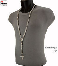 Men's Hip Hop 8mm CLEAR Bead Rh Plated Rosary Pray Hand Jesus Cross Necklace SCL