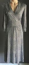 SPORTSCRAFT Navy White Tile Print 3/4 Sleeve Empire Dress Size 8