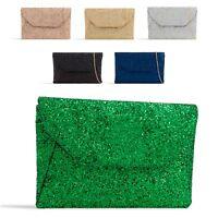 Ladies Glitter Envelope Clutch Bag Glittery Evening Bag Party Handbag KL2376