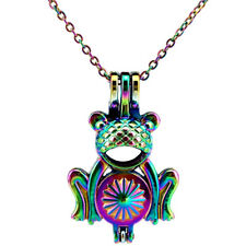 C667 Rainbow Color Frog Beads Cage Pearl Cage Locket Chain Necklace