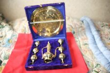 Vintage Oriental Coffee set Brass Tray SIX Brass Vessels and A Coffee pot Boxed