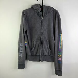 Butter Super Soft Gray Washed Rainbow PEACE Distressed Zip Up Hoodie Size L