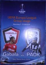 Programme Gabala Azerbaijan - PAOK Thessaloniki Greece 2015 Europa League