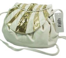 """Faith """"Jeanette"""" Ivory & Gold Designer Handbag 40% OFF"""