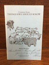 Common Sense Things Ewe Should Know About Woolies!  McLaughlin Pamphlet Sheep