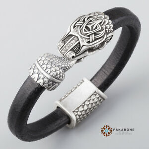 VIKING BRACELET WITH JORMUNGAND LEATHER WRISTBAND WITH OUROBOROS VIKING JEWELRY