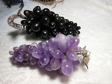 2 Vtg Grape Clusters Agate Stone Grapes with Metal Leaf Decor Beautiful Items