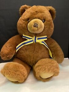"Vintage Dan Dee Teddy Bear Plush Yellow/Blue Bow  25"""