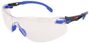 3M Solus Safety Glasses with Blue Temples and Clear Anti-Fog Lens