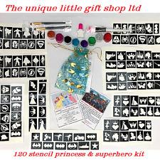 GLITTER TATTOO KIT 120 stencil 8 glitter superhero princess boy girl OR REFILLS