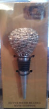 Wine Stopper - Bombay Company Silver hand - beaded - 4.5in