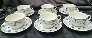 6 x Blue Denmark large BREAKFAST CUPS & SAUCERS MASONS, FURNIVALS