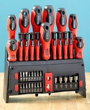 39 Pc. Screwdriver Set w/ Rack Magnetic Bit Driver Standing / Wall Mounted Tools