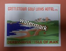 Art Deco Hotel Travel Luggage Label Golf Links Isle of Man (postcard size) RARE