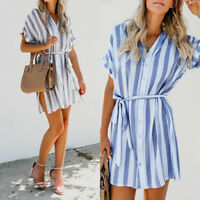 UK Womens Summer Striped Lace-up Sundress Ladies Party Holiday Beach Mini Dress