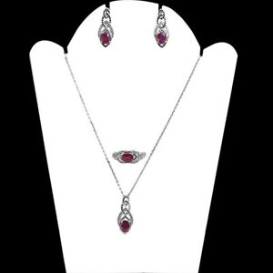 Natural Pink Ruby Gemstone 925 Sterling Silver Earring Ring Necklace Set