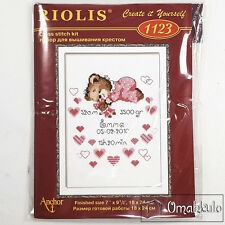 RIOLIS - Cross Stitch Kit - Girls Birth Announcment - 18 x 24cm - Kit No. 1123