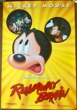 Original Mickey Poster, Runaway Brain (1995) Disney movie Double-sided Bargain!!