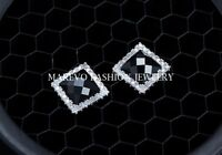 MEN'S BLACK AGATE CZ PAVE SQUARE STUD EARRINGS 925 STERLING SILVER GIFT POUCH