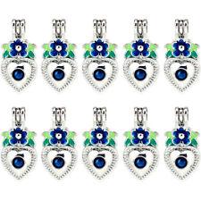 Bulk 10pcs! Enamel Heart Flower Leaf Pearl Beads Cage Locket Pendant K1017
