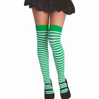 Striped Knee High Stockings Green & White One size