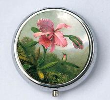 Orchid Humming Bird PILL case pillbox pill box holder
