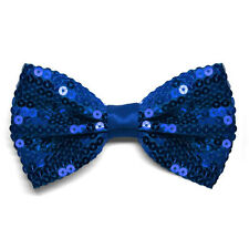 Royal Blue Sequin Band Collar Bow Tie