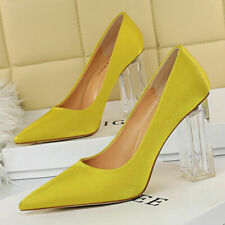 Women's Transparent Pointed Toe Block Heeled Slip On Dress Office Pumps Shoes