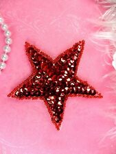 JB74 Star Applique 3 Inch Red Sequin Beaded Independence Patriotic