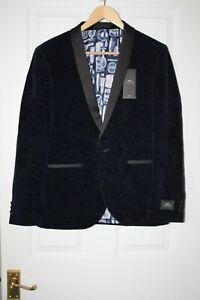 Moss London ~ Blue Velvet Formal Jacket ~ Size 38S ~ NWT