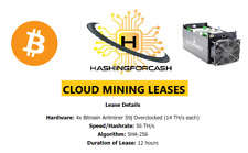 12 hours 56TH/s Bitcoin Mining Lease Antminer Crypto Hashing Rental S9 BTC Hash