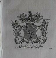 1756 Antiguo Estampado Familia Crest Abrigo De Brazos North Conde De