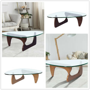 Noguch-i Coffee Table Side End Table Walnut Base Clear Glass Table Top 19mm AU
