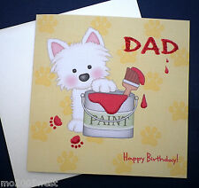 PAPA 'Happy Birthday Card/Decorazione/pittura con simpatici Westie fatto a mano.