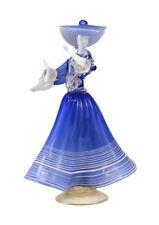 Venetian Art Glass Figurine, circa 1960. Woman in Blue Dress