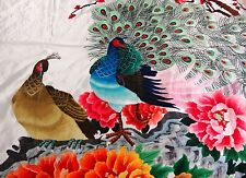 Handwoven Silk Chinese Embroidery - Peacocks And Peony Flowers (200x91cm) #2