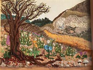 Framed Stumpwork Embroidery Landscape Picture Edna F