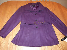 NWT Womens NICOLE MILLER PEACOAT COAT DARK PURPLE SMALL S FAUX WOOL BELTED