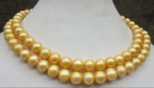 35 inch 10-11 mm genuine south sea golden pearl necklace 14k Gold Clasp