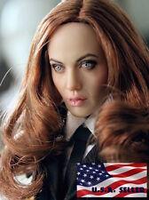 "1/6 Angelina Jolie Mrs. Smith Head Sculpt Fit 12"" Hot Toys Phicen Female Figure"