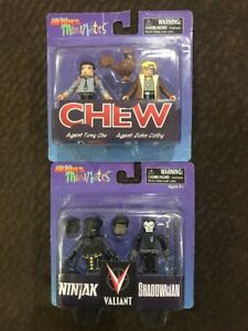 Comic Book Heroes Minimates Valiant Ninjak & Shadowman And Chew Figures