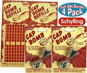4 piece Gift Set Schylling retro classic toy 2 metal cap bombs + 2 refills