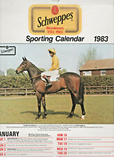 RARE COLLECTIBLE VINTAGE 1983 SCHWEPPES HORSE RACING SPORTING CALENDAR UNUSED