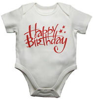 Happy Birthday - New Baby Vests Bodysuits Baby Grows Boys Girls - White